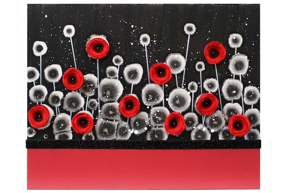 Red and Black Wall Art Poppy Flower Painting Canvas - Small | Amborela