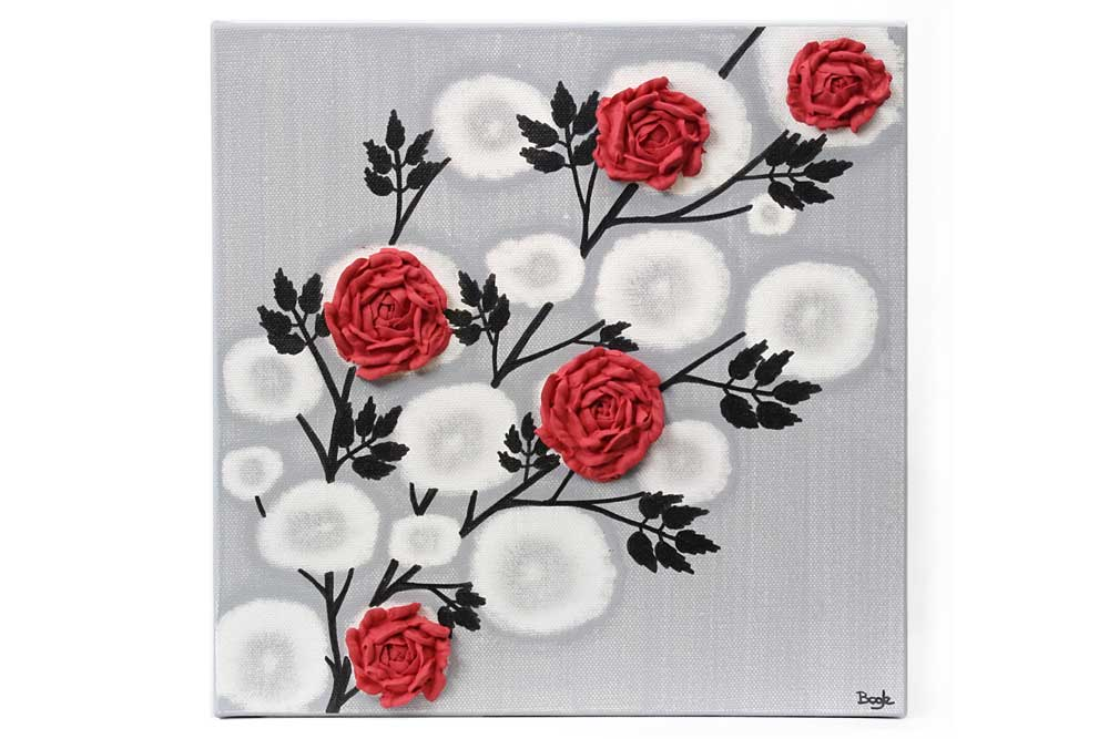 Red Rose Wall Art Painting on Gray and Black Canvas - Small | Amborela