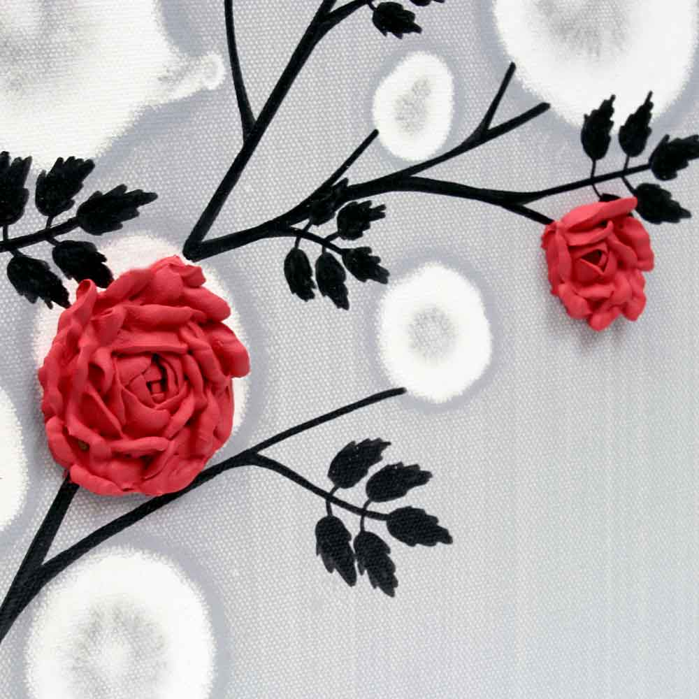 Center view of wall art red rose branch