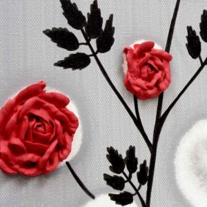 Red Rose Wall Art Painting on Gray and Black Canvas – Small