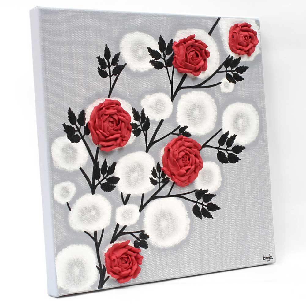 Side view of wall art red rose branch