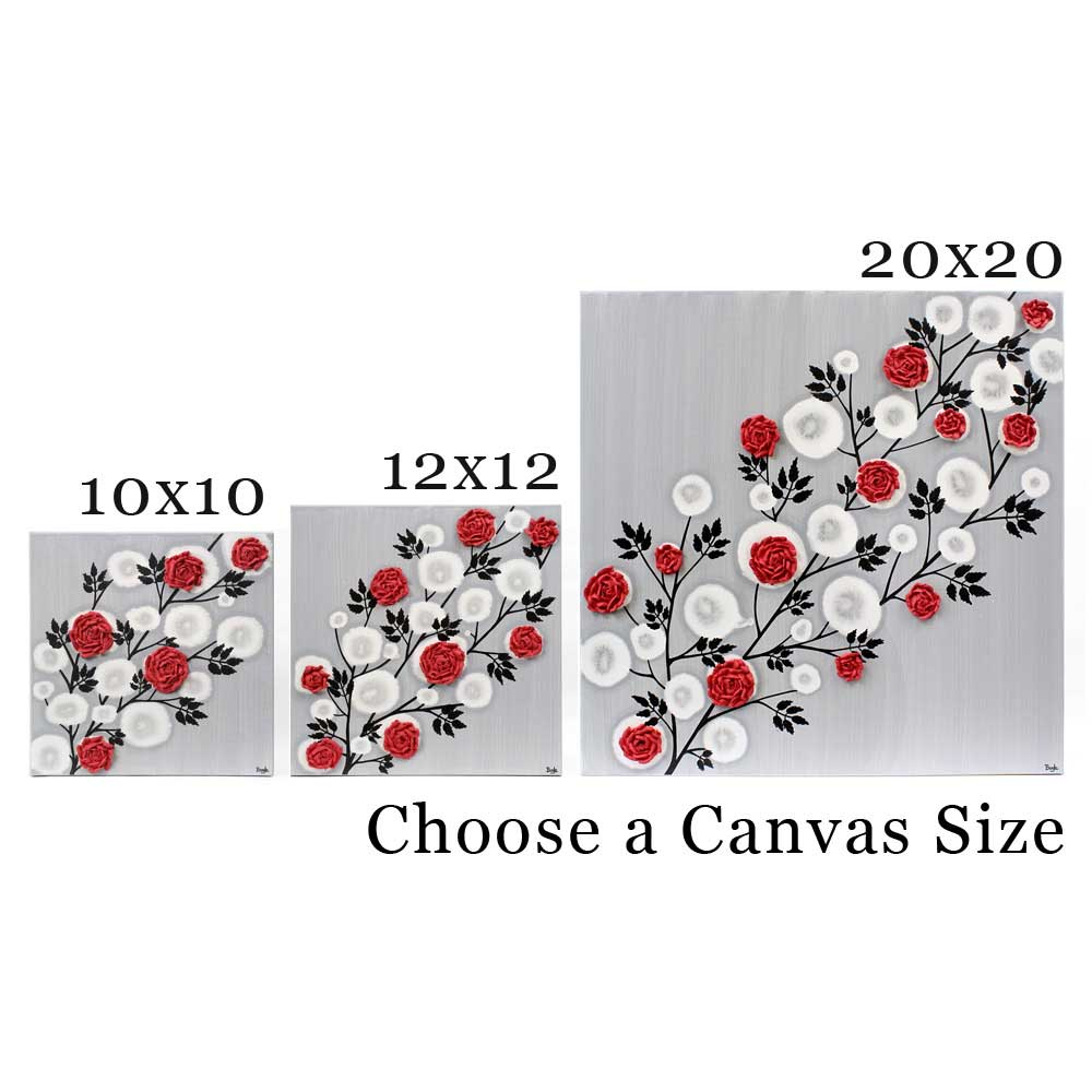 Canvas side options of wall art red rose branch