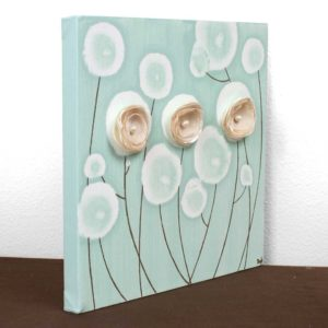 Art Painting of 3D Flowers on Canvas in Teal and Khaki – Small