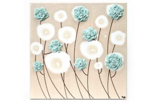 Wall art sea glass ruffled roses
