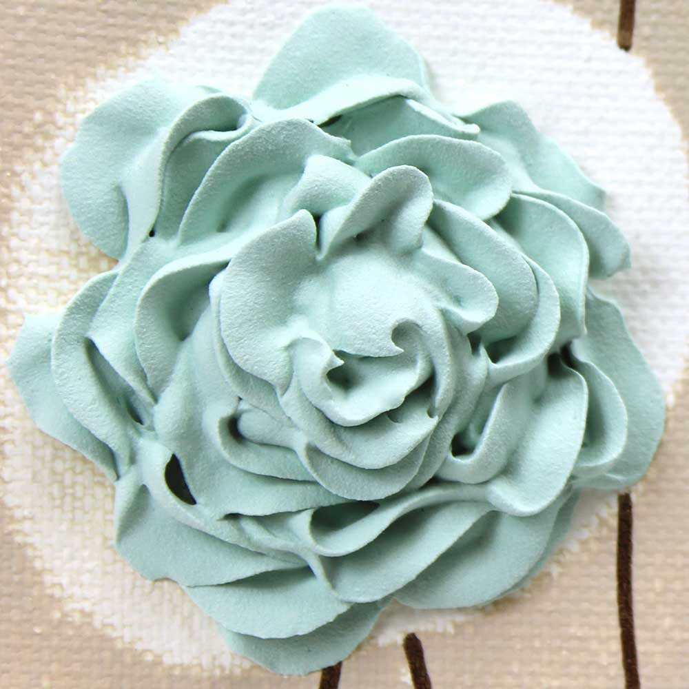 Close up for wall art sea glass ruffled roses