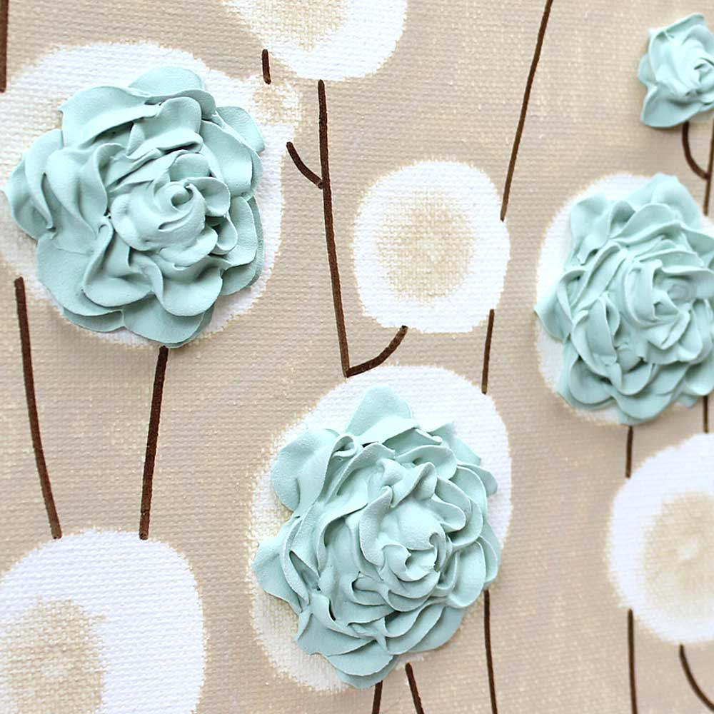 Details for wall art sea glass ruffled roses