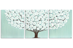 Wall art sea glass and brown tree