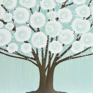 Canvas Wall Art Tree Painting Triptych in Teal Brown | Large – Extra Large