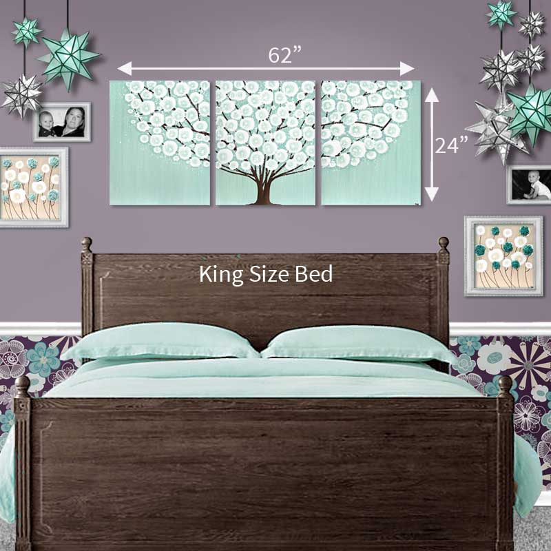 King bed size guide for extra large wall art teal tree