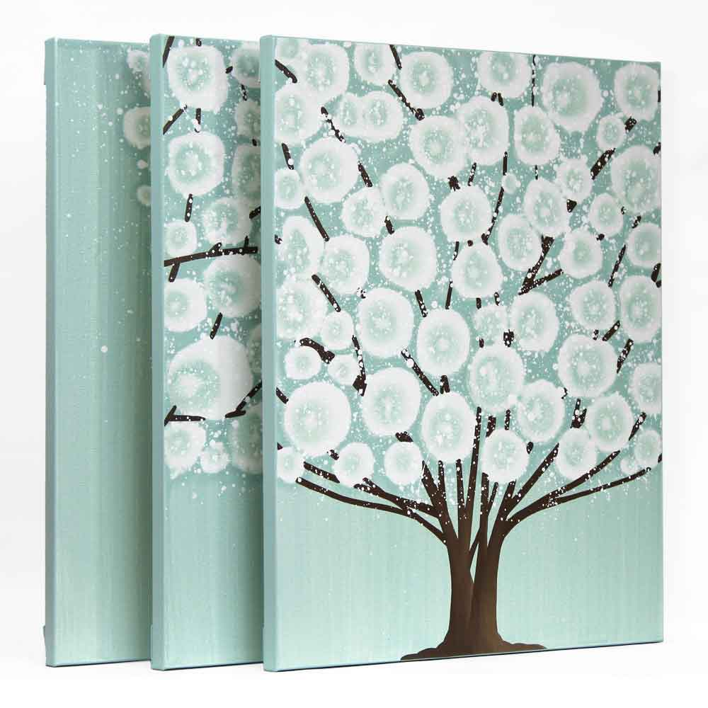Tree Canvas Wall Art canvas wall art tree painting triptych in teal brown - large