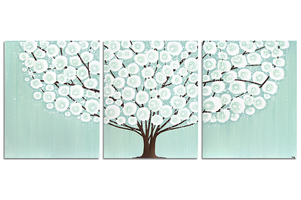 Teal And Brown Wall Art canvas wall art tree painting triptych in teal brown - large