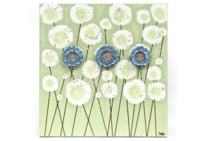 Canvas Painting of Peonies in Green and Blue – Small