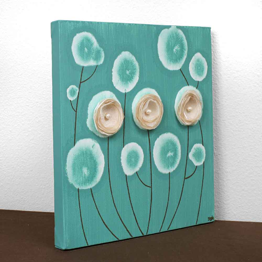 Side view of wall art teal poppies