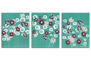 Teal Home Decor Wall Art Sculpted Flowers on Canvas – Large