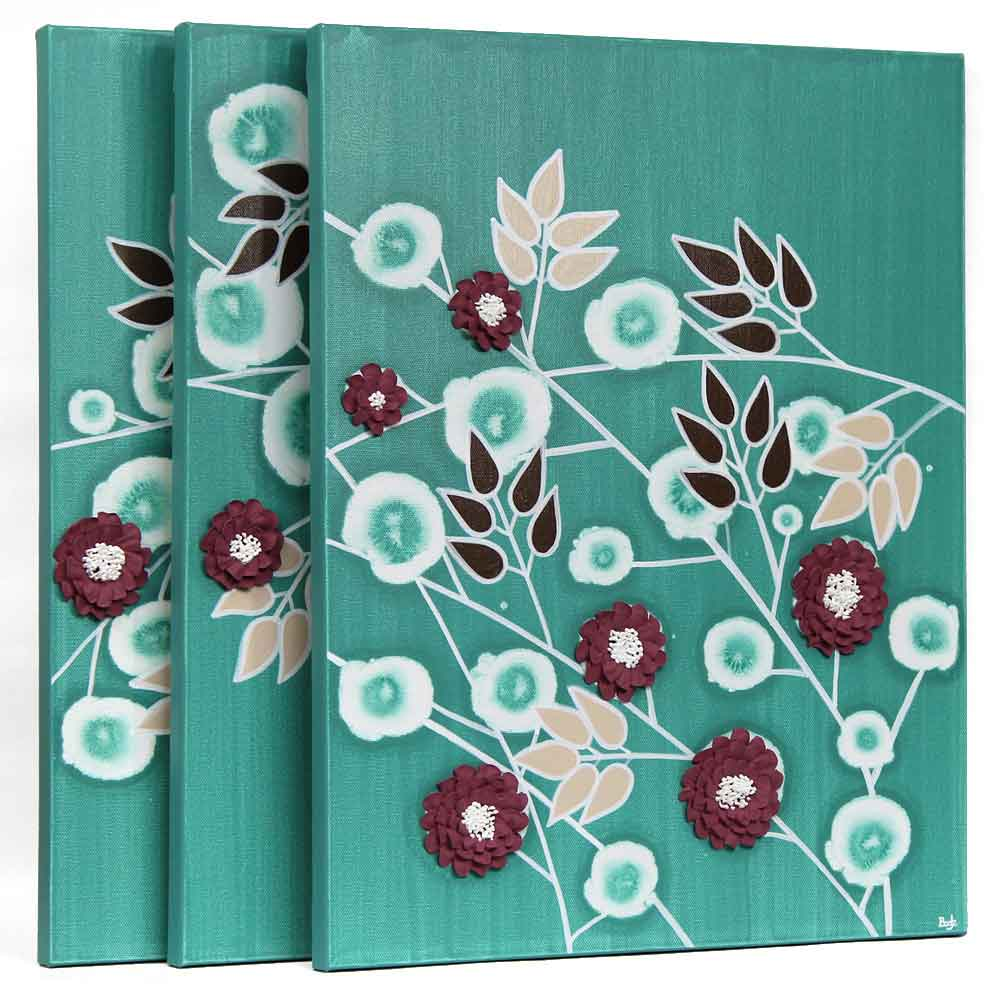 teal home decor wall art sculpted flowers on canvas large amborela. Black Bedroom Furniture Sets. Home Design Ideas