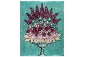 Wall art teal and wine rose still life