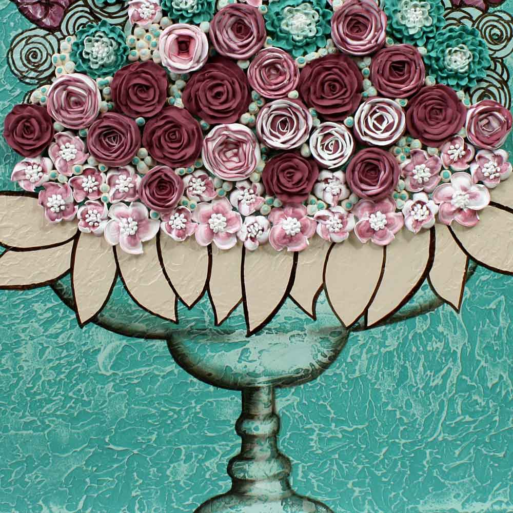 Center view of wall art teal and wine rose still life