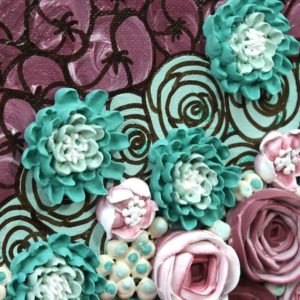 Floral Wall Art Sculpted Rose Painting in Teal and Wine – Small