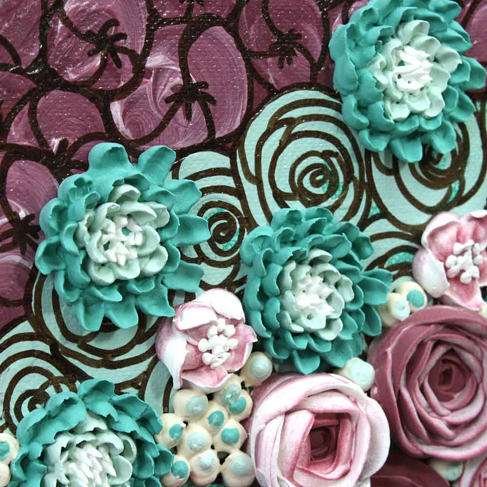 Close up of wall art teal and wine rose still life