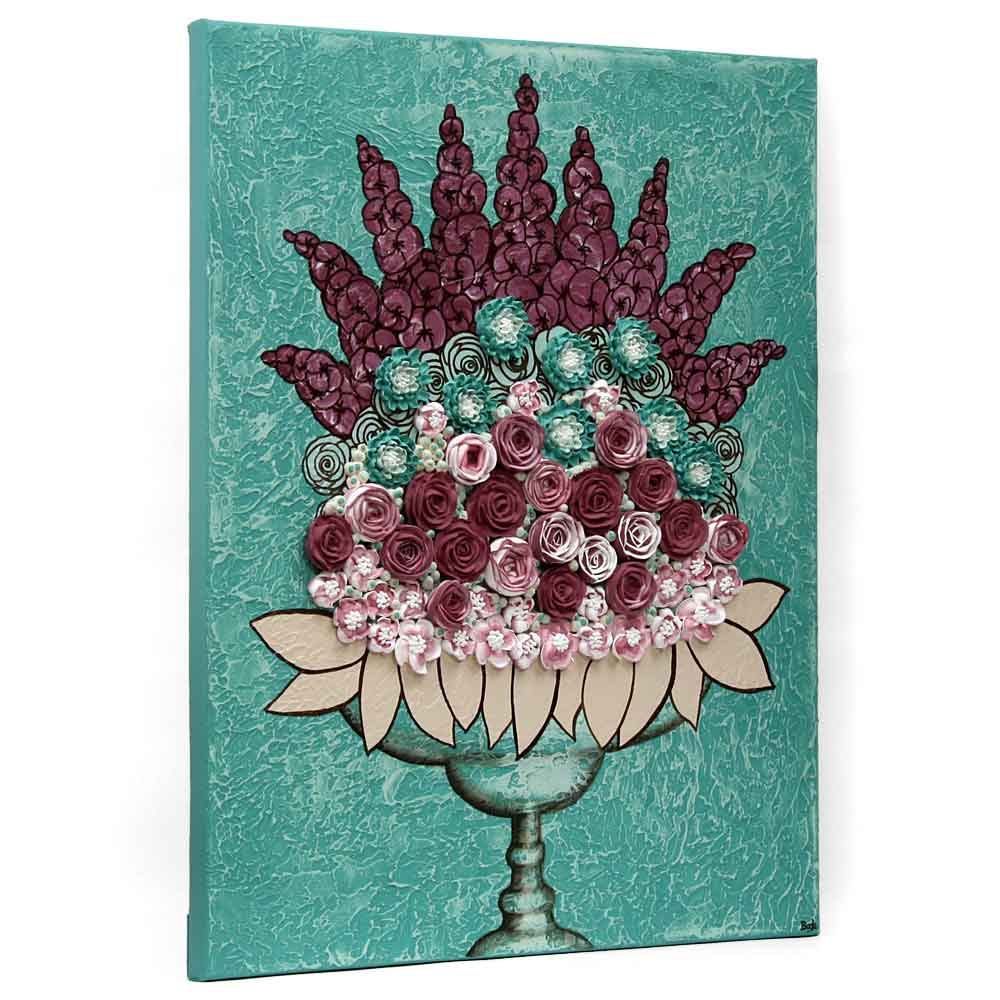 Side view of wall art teal and wine rose still life