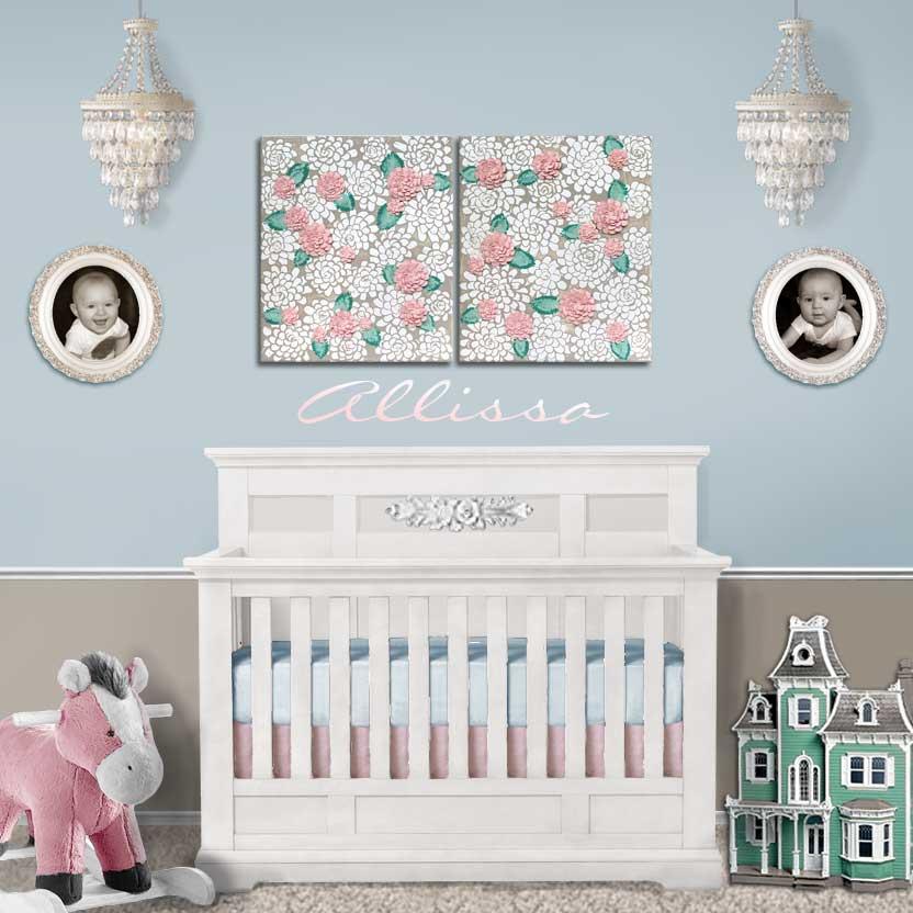 Setting of nursery art warm gray and pink dahlias
