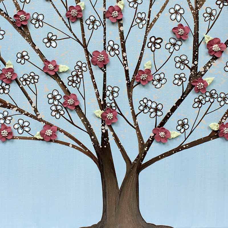 Center view of wall art flowering tree in sky and wine