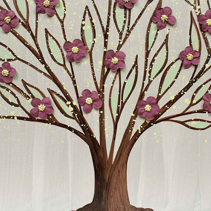 Center view of large wall art flowering tree in warm gray and wine