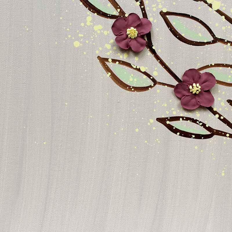 Details of large wall art flowering tree in warm gray and wine