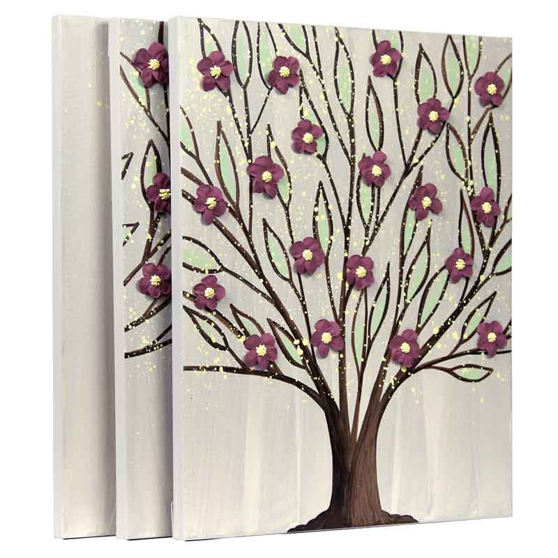 Side view of large wall art flowering tree in warm gray and wine