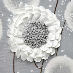 3 Piece Wall Art Flowers in Neutral Gray White – Extra Large
