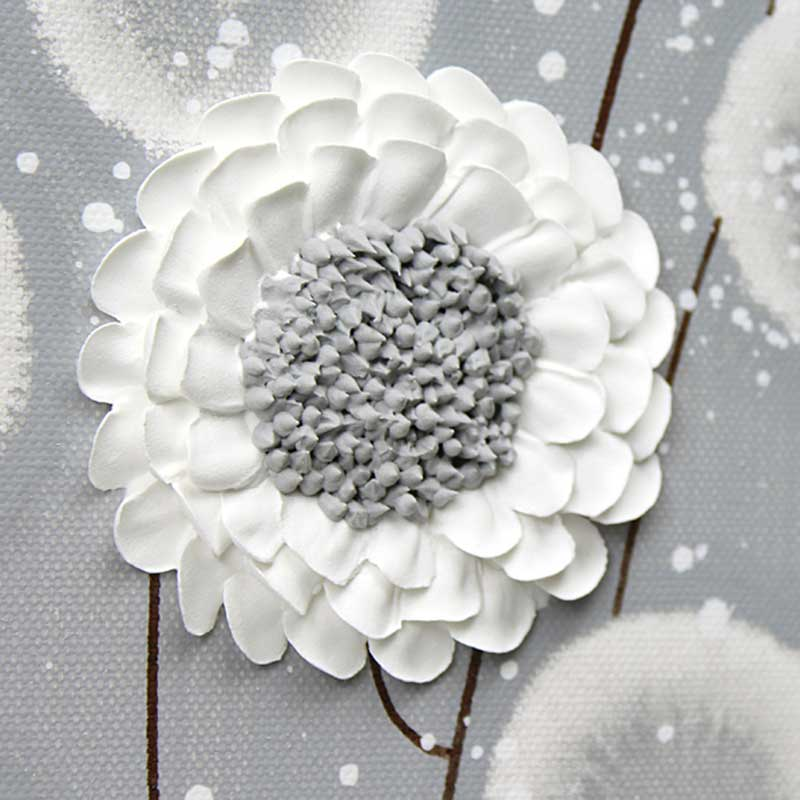 3 Piece Wall Art Flowers In Neutral Gray White Extra