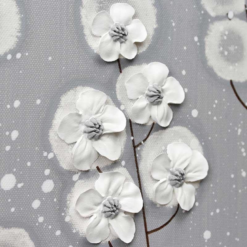 Wildflower on canvas art gray and white flowers set of three
