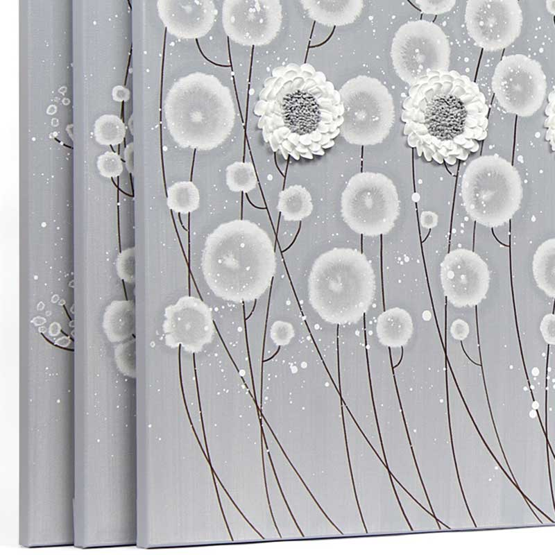 3 piece wall art flowers in neutral gray white extra large amborela side view of canvas art gray and white flowers set of three mightylinksfo