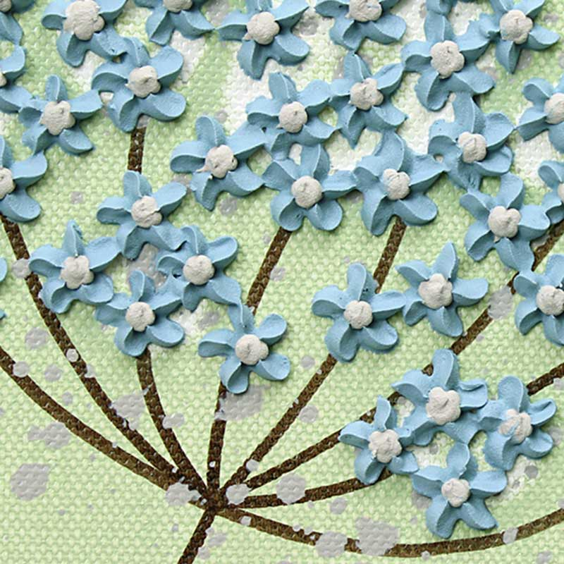 Lace flower on wall art green and blue flowers set of three extra large