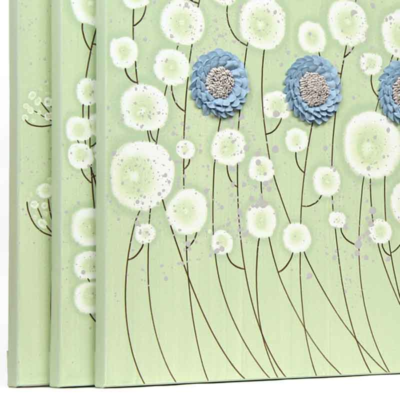 Side view of wall art green and blue flowers set of three extra large