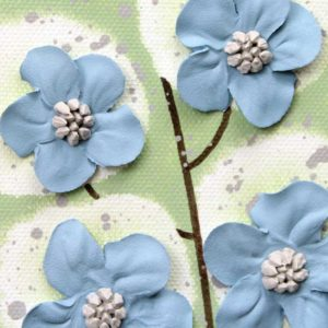 Flower Wall Art on 3 Canvases in Green and Blue – Extra Large