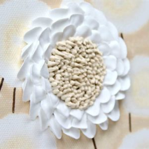 Three Flower Paintings in Neutrals Brown and White