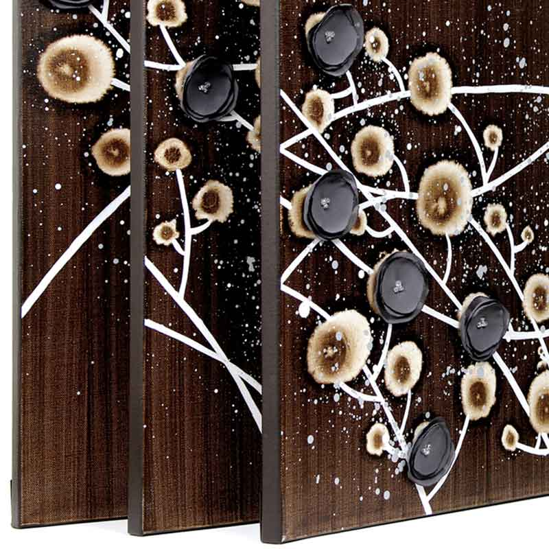 Side view of canvas art chocolate and gray flowers
