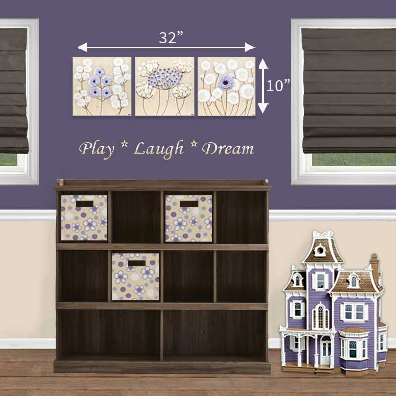 Size Guide for nursery art khaki and lavender flowers