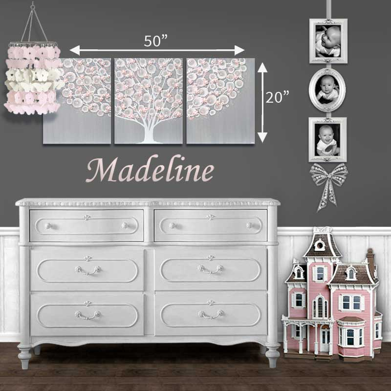 Size guide for nursery art gray and pink apple blossom tree