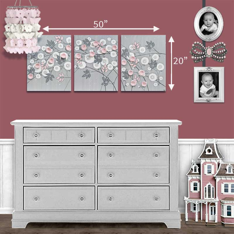 Size guide for nursery art gray and pink climbing flowers
