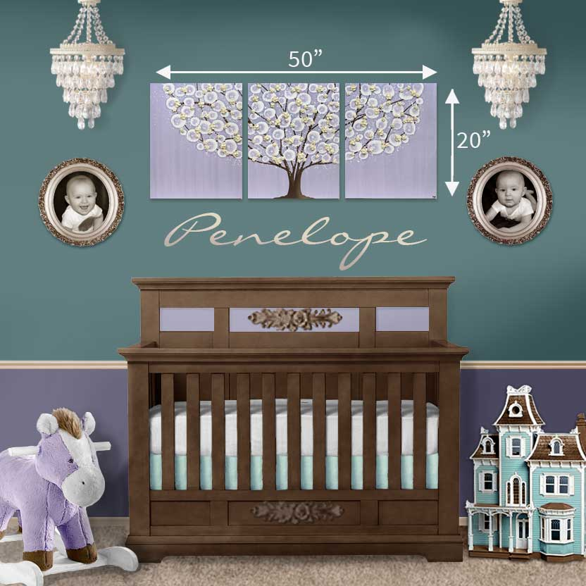 Size Guide For Nursery Art Lavender And Khaki Le Tree