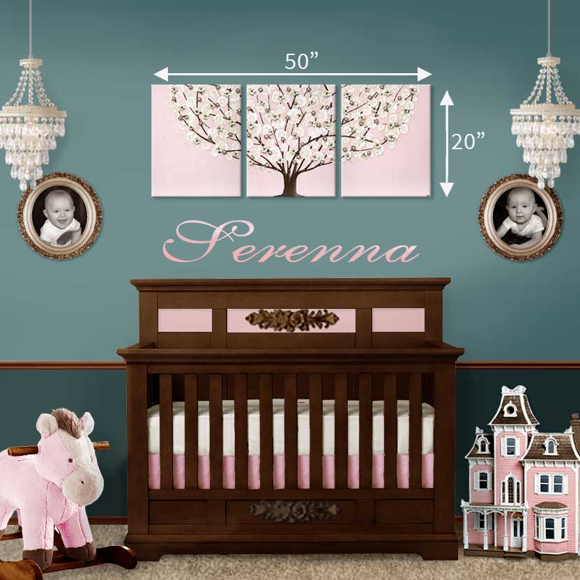 Size guide for nursery art pink apple tree