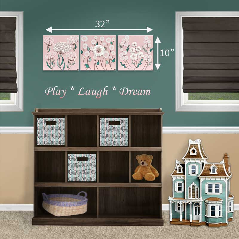 Size guide for nursery art pink and teal spring blossoms