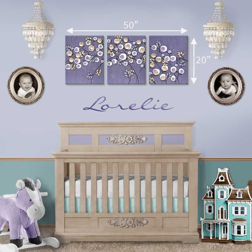 Size guide for nursery art violet and khaki climbing roses