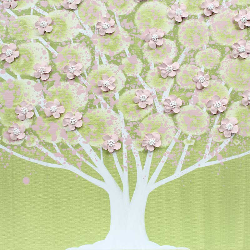Center view of nursery art green and pink apple tree