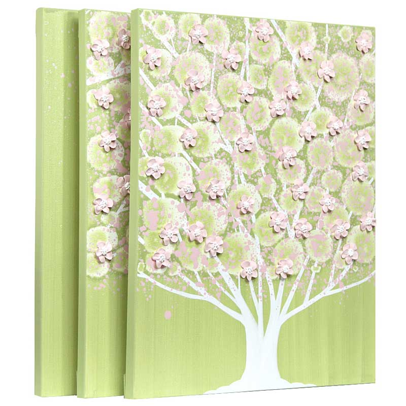 Apple Tree Wall Art for Green and Pink Girl Nursery - Large | Amborela