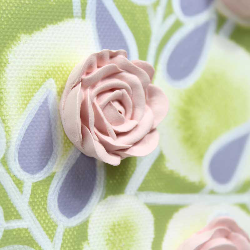 Flower on nursery art green and pink roses
