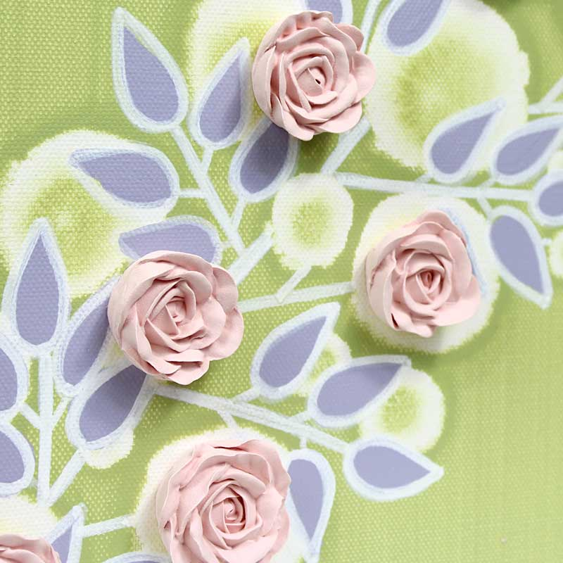 Close up of nursery art green and pink roses