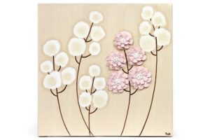 Nursery canvas art khaki and pink wildflowers